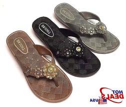 New Women Summer Flower top Slipper Shoes Casual Thong Flat