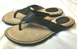 NEW Womens B.O.C. BORN CONCEPT Black Leather Flip Flops Size