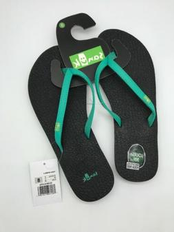 NEW Womens Black Aqua Sanuk Yoga Spree 4 Mat Flip Flops Show