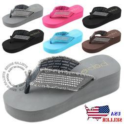 NEW Womens Fashion Wedge Platform Thong Slip On Flip Flops S