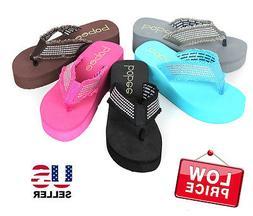 new womens fashion wedge platform thong slip