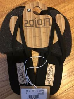 New Women's Flojos Fiesta Black Flip Flops Womens Size 5 &