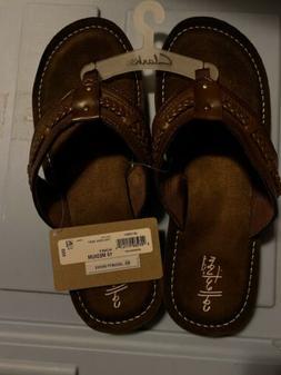 New Women's Clarks Flip Flops Size 10 Brown Originally $55