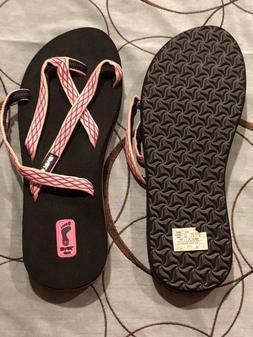 New Womens Teva Olowahu Crush Pink Strappy Sandals Mush Flip