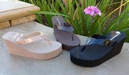 NEW Women's Platform T-Strap Sandals Wedge Flip Flops Casual