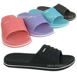NEW Womens Slide Sandal Black Pink Blue Purple Slip On Flip