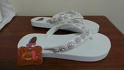 """New! Womens Justin """"Stace"""" White Sandals – Flip Flops"""