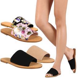 New Womens Wide Band Open Toe Slide Flat Sandal Shoes Flip F