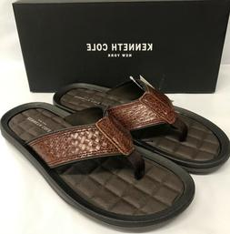 Kenneth Cole New York Men's Brown Leather Flip Flops New Pic