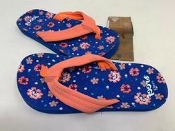 NEW! Reef Youth Girl's Little Ahi Flip Flops Blue Floral Siz