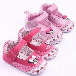 Newborn Infant Baby Girls Minnie Mouse Prewalker Crib Shoes