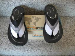 NIB AEROTHOTIC Comfort Orthotic Support Glitter Flip Flops S