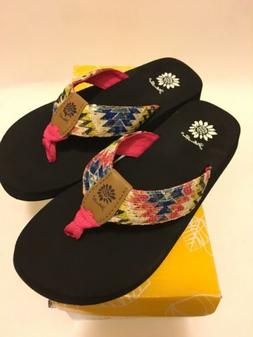 NIB-Yellow Box Flip Flops, Kaden II / Fuchsia Girls Size 3M