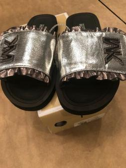 NIB NEW Michael Kors girls Eli-Jack-888 silver ruffled slide