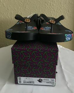 NIB TORY BURCH Women's Cutout-Wedge Flip-Flops, size 11, Bla