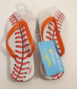 NIP Boys HIPFLOPS White & Red Baseball Flip Flops~Size M 12-