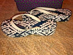 NWB New With Box $78 TORY BURCH Cut-Out Wedge navy flip flop