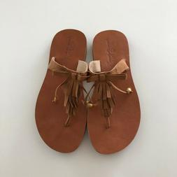 NWOT Hanna Andersson Girls Brown Thong Sandals Flip Flops Sh