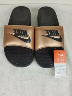 NWT Nike Benassi JDI Black GOLD Women's Slide Flip Flop Wome
