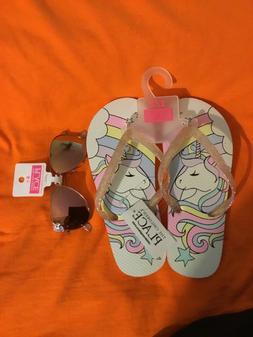NWT, Childrens Place Girls Youth Flip Flops Sandals, 10/11 w