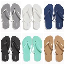 NWT Old Navy Classic Flip Flops Women Blue White Silver Gold