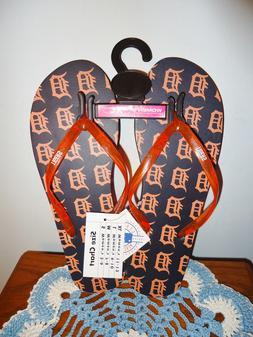 NWT Detroit Tigers MLB Women's Logo Glitter Flip Flops SANDA