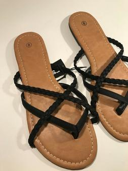 NWT Ladies FLIP FLOP BLACK SANDALS Classic Shoes SIZE 8