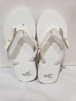 NWT Girls Gap Kids White Glitter Bow Flip Flops Sandals Sz 1