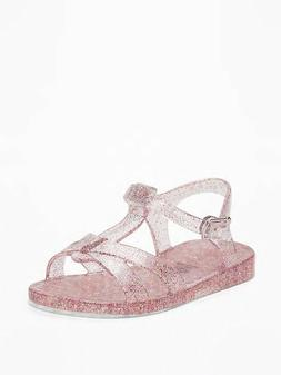 NWT OLD NAVY ❤️ JELLY T-STRAP SANDALS MULTI GLITTER SHOE