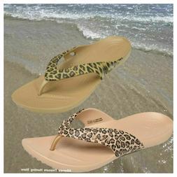 NWT CROCS Kadee Leopard Print Women's Flip-Flop Sandals SELE