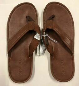 Nwt Mens Old Navy Brown Leather Thongs Sandals Flip Flops 6