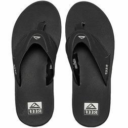 nwt Reef Mens Fanning BLACK BLACK Flip Flops Thongs Sandals