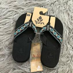 NWT Reef Sandy Black Blue Metallic Flip Flops Sandals Sz 5 T