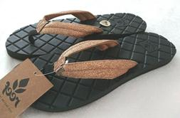 NWT! Reef Star Dreams II 2 Gold Glitter Black Sandals Flip F