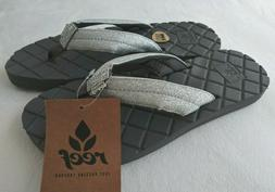 NWT REEF Star Dreams II 2 Silver Gray Sandals Flip Flops Gli