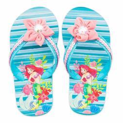 NWT Disney Store Ariel Flip Flops Sandals Shoes Girls Little