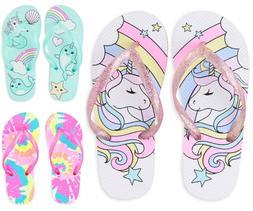 NWT The Childrens Place Unicorn Girls Flip Flops Sandals Sho