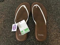 NWT Women's Sanuk Flip Flops Size 5 - White with brown sole