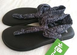 NWT! Sanuk Womens Yoga Sling Ella Prints Black Shoes Sandals