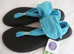 NWT! Sanuk Yoga Sling 2 Aqua Blue Sandals Flip Flops Shoes S