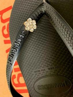 Original HAVAIANAS Flip Flops Women Slim with Crystal and Pe