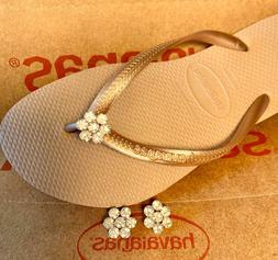 Original HAVAIANAS Flip Flops Women Slim with Crystal and Pe