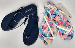 ESPRIT Party Flip Flops Flat Thong Sandals Navy Blue / Brigh