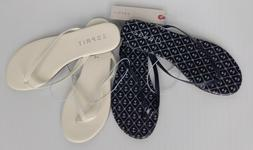 ESPRIT Party Flip Flops Flat Thong Sandals White / Navy Anch