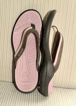 Crocs Pink Brown Capri Flip Flops  8  *NEW*