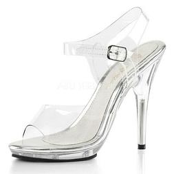 Fabulicious POISE-508 Women's Clear High Heels Low Platform