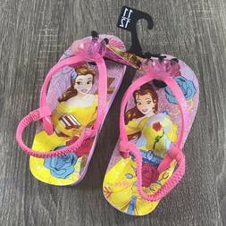 Disney Princess Belle Girls Toddler Flip Flops Back Strap Si