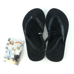 Rainbow Kid's Flip Flops Size 3/4Sandiva Black Glitter Back