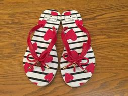 KATE SPADE NEW YORK RED HEARTS WITH BOW FLIP FLOPS NEW SIZE