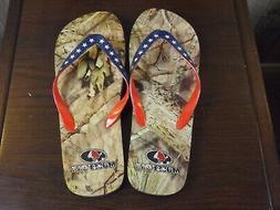 MossyOak Red White Blue USA Flip Flops Men's Size 11/12 ~NWO
